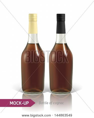 Mockup realistic bottles of cognac on a white background with reflection and shadow. Template for label design.