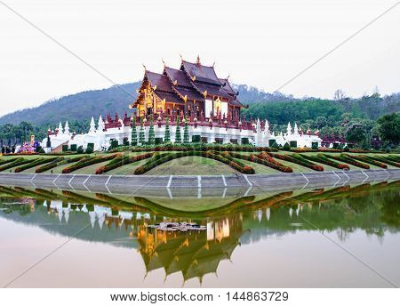 architecture beautiful in the garden Lanna style,Thailand