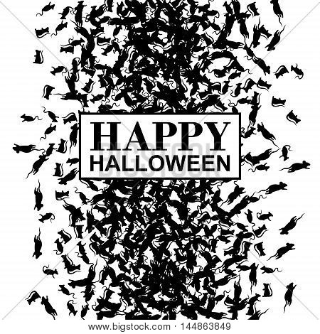 Happy Halloween banner with black rats. Vector background.