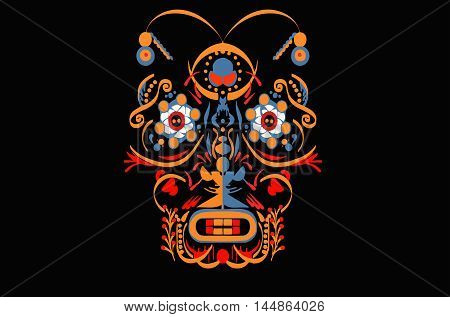 vector illustration colored symmetrical pattern of lines of elements in the form of fancy mask on a black background