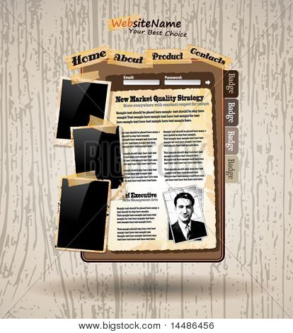 Foto libro Vintage estilo Web plantilla con fondo de madera de Grunge
