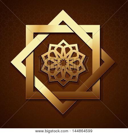 Geometric radiant arabic pattern. Golden geometric shape on a brown background with Islamic pattern. Arabic design. Vector illustration