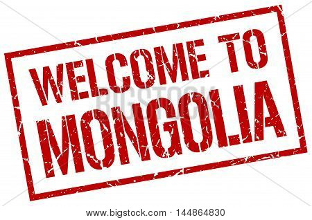 welcome to Mongolia. stamp. grunge square sign