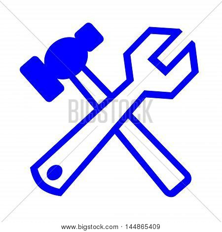 Hammer and wrench it is isolated on a white background