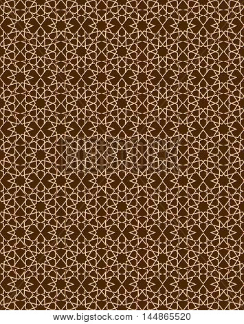 Seamless pattern in islamic style. Golden arabic ornament on a brown background. Gold stars on a brown background. Vector illustration