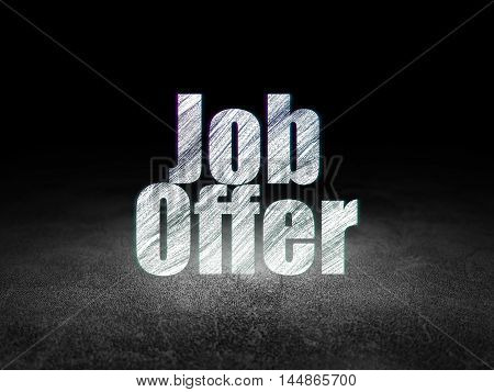 Finance concept: Glowing text Job Offer in grunge dark room with Dirty Floor, black background