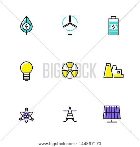Linear set of alternative energy icons. Flat vector illustration.