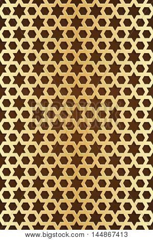 Stellar seamless gold pattern. Islamic pattern. Endless texture. Golden grille with an ornament in Islamic style. Vector illustration