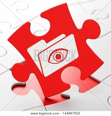 Finance concept: Folder With Eye on Red puzzle pieces background, 3D rendering