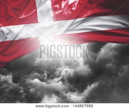 Denmark flag on a bad day