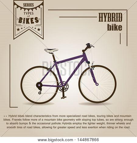 Vector series 'types of bikes'. Hybrid bike