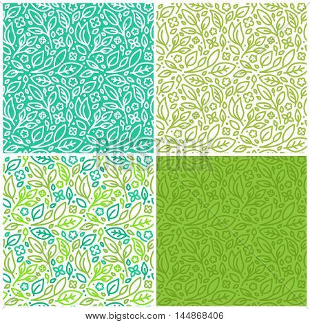 Vector Set Of Seamless Patterns With Green Leaves