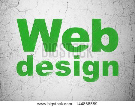 Web development concept: Green Web Design on textured concrete wall background