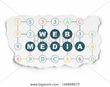 Web design concept: Painted blue text Web Media on Torn Paper background with Scheme Of Hexadecimal Code