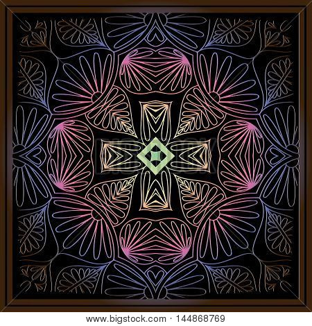 abstract embossed floral mandala pattern of interwoven lines and brown frame on a black background