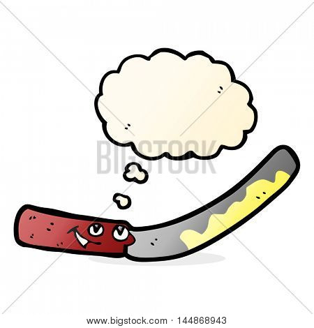 cartoon butter knife with thought bubble