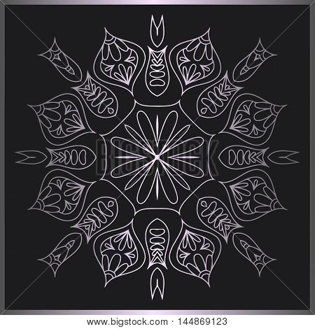 abstract floral mandala pattern of interwoven lines of metal color and frame on a black background