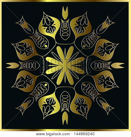 abstract floral mandala pattern of interwoven lines of golden color and a frame on a black background