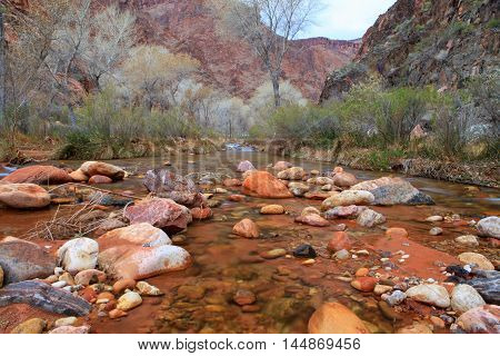 Soft water at Bright Angel Creek at Phantom Ranch at Grand Canyon National Park Arizona