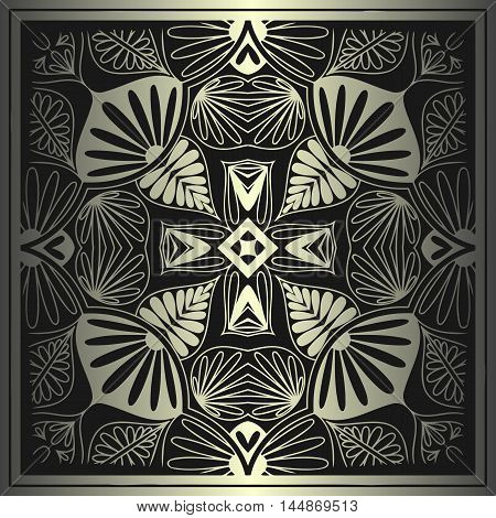 abstract floral mandala pattern of interwoven lines metallic color and a frame on a black background