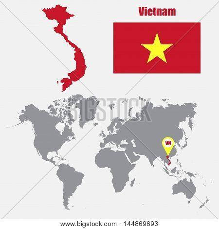 Vietnam map on a world map with flag and map pointer. Vector illustration