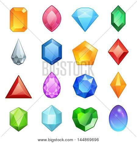 Vector gems and diamonds icons set in different colors with different shapes