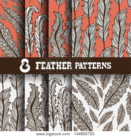 Set of 8 elegant seamless patterns with hand drawn decorative feathers design elements. Floral patterns for wedding invitations greeting cards scrapbooking print gift wrap manufacturing.