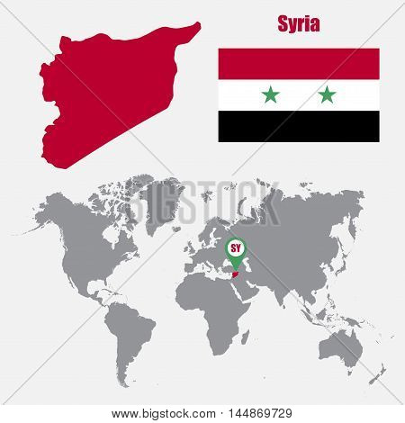 Syria map on a world map with flag and map pointer. Vector illustration