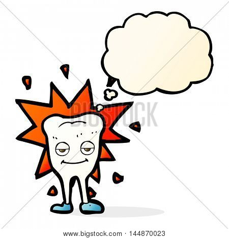 cartoon happy tooth with thought bubble