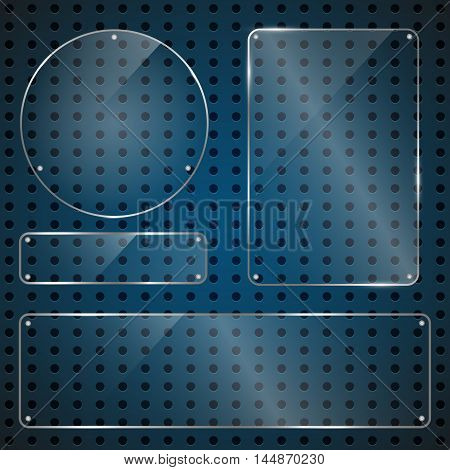 Set of glossy shiny glass banner panels on metal dotted blue background. Glossy blank transparent plates for your design.Technology concept. Vector illustration.