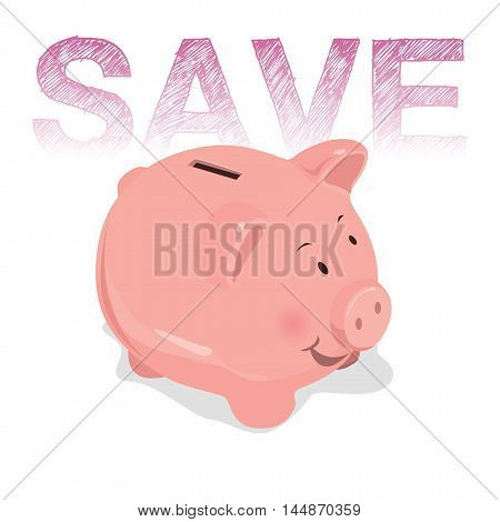 Vector images to media piggy bank savings.