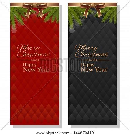 Merry Christmas and a Happy New Year. Red and black vector christmassy backgrounds.