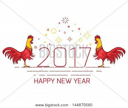 Chinese New Year rooster decoration design template on white background. Red fire cocks symbol logo for eastern calendar. Chinese rooster vector illustration.