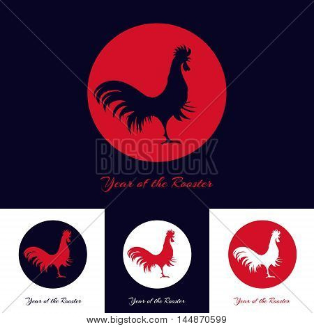 Chinese New Year logo template with rooster icon. Festive decoration design template. Fire rooster symbol for eastern calendar. Cock as a symbol of 2017. Vector illustration.