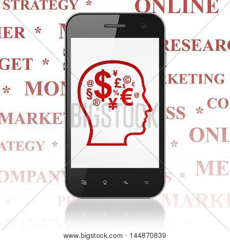 Advertising concept: Smartphone with  red Head With Finance Symbol icon on display,  Tag Cloud background, 3D rendering