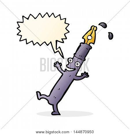 cartoon pen character with speech bubble