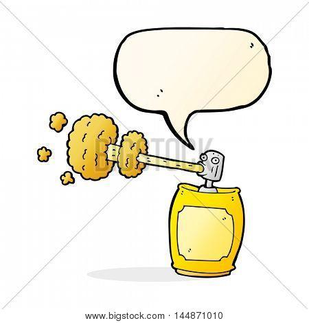 cartoon spray can with speech bubble