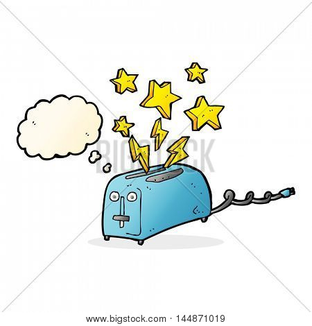 cartoon sparking toaster with thought bubble