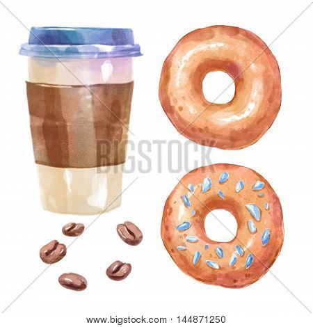 Watercolor sweets donuts and coffee. Big collection of hand drawn illustrations. Good for book illustration, magazine or journal article.