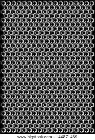 Vector geometric pattern of hexagons. Realistic hexagonal grid background. Realistic metal cell.