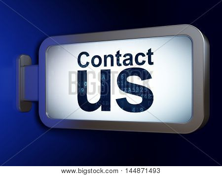 Marketing concept: Contact Us on advertising billboard background, 3D rendering