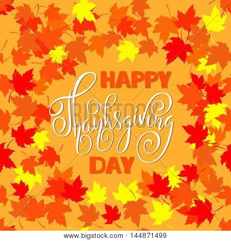 Happy Thanksgiving lettering. Greeting text and autumn leaves frames. Vector illustration EPS 10.