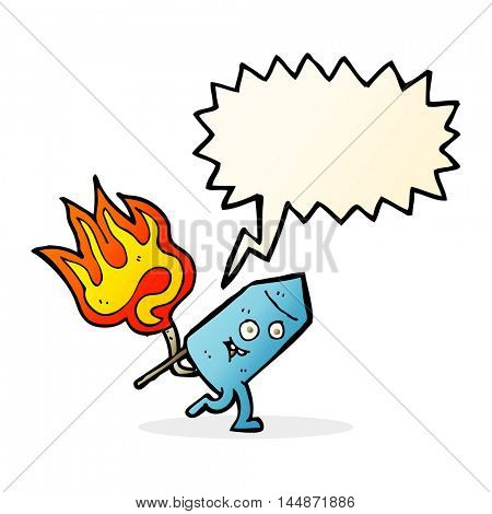 cartoon funny firework character with speech bubble