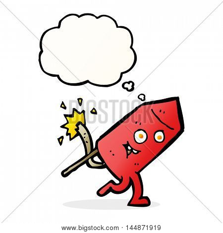 cartoon funny firework character with thought bubble