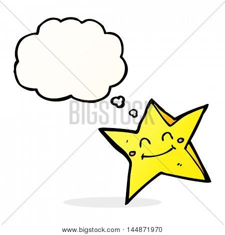 cartoon happy star character with thought bubble