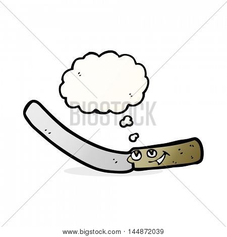 cartoon kitchen knife with thought bubble