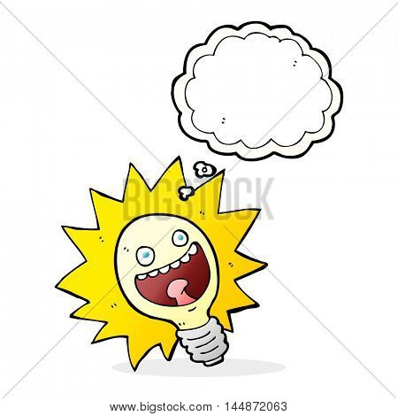 cartoon lightbulb with thought bubble