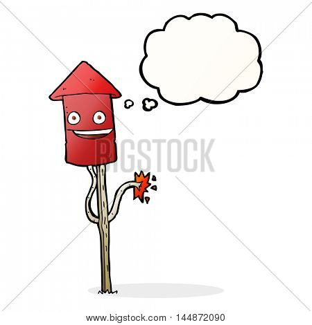 cartoon firework with thought bubble