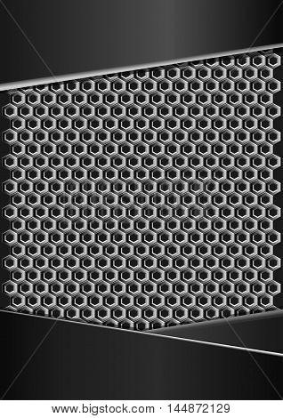 Geometric pattern of metallic honeycomb with black metal plates. Vector geometric pattern of hexagons.