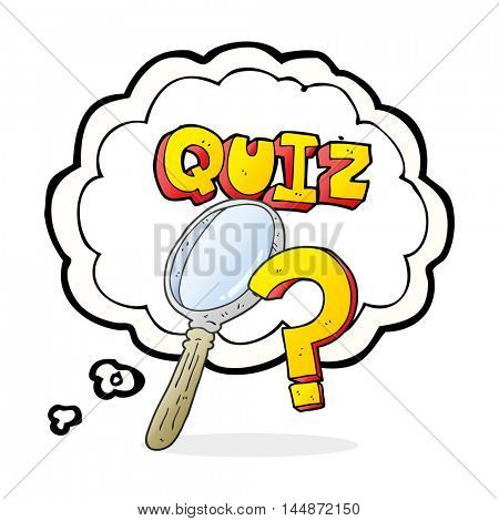 freehand drawn thought bubble cartoon quiz symbol